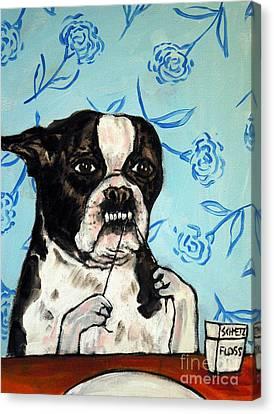 Boston Terrier Flossing Canvas Print by Jay  Schmetz