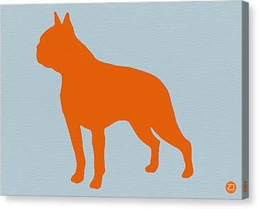 Boston Terrier Orange Canvas Print by Naxart Studio