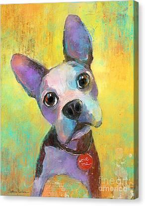 Boston Terrier Puppy Dog Painting Print Canvas Print by Svetlana Novikova