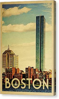Boston Vintage Travel Poster Canvas Print by Flo Karp