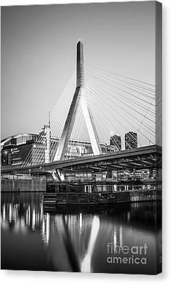 Boston Zakim Bridge Black And White Photo Canvas Print by Paul Velgos