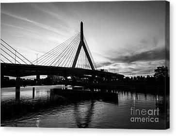 Boston Zakim Bridge Black And White Picture Canvas Print by Paul Velgos