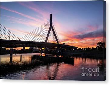 Boston Zakim Bunker Hill Bridge At Sunset Photo Canvas Print by Paul Velgos