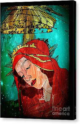 Botticelli Madonna In Space Canvas Print by Genevieve Esson