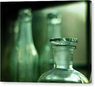 Bottles In The Window Canvas Print by Rebecca Sherman