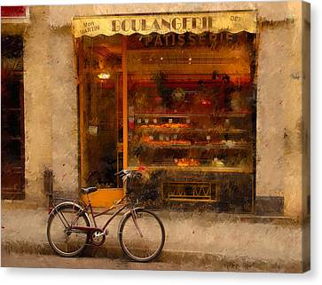 Boulangerie And Bike 2 Canvas Print by Mick Burkey