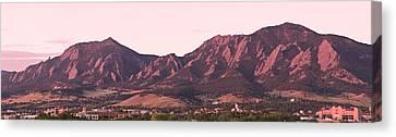 Boulder Colorado Flatirons 1st Light Panorama Canvas Print by James BO  Insogna