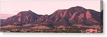 Boulder Colorado Flatirons 1st Light Panorama Canvas Print by James BO  Insogna