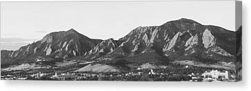 Boulder Colorado Flatirons And Cu Campus Panorama Bw Canvas Print by James BO  Insogna