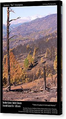 Boulder County Wildfire 5 Miles West Of Downtown Boulder Canvas Print by James BO  Insogna