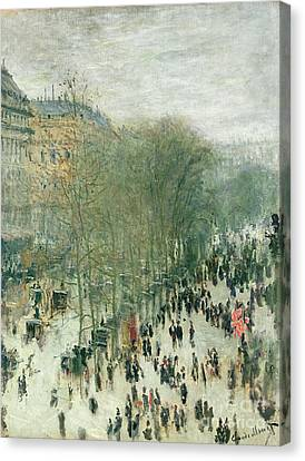 Boulevard Des Capucines Canvas Print by Claude Monet