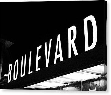 Boulevard Lights Up The Night Canvas Print by Angie Rayfield