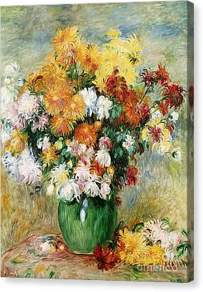 Bouquet Of Chrysanthemums Canvas Print by Pierre Auguste Renoir