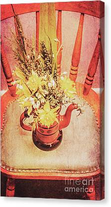 Bouquet Of Dried Flowers In Red Pot Canvas Print by Jorgo Photography - Wall Art Gallery