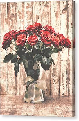Bouquet Roses Canvas Print by Wim Lanclus