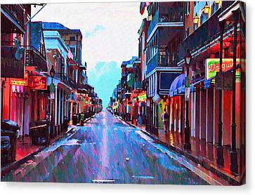 Bourbon Street At Dawn Canvas Print by Bill Cannon