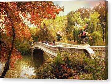 Bow Bridge Autumn Crossing Canvas Print by Jessica Jenney