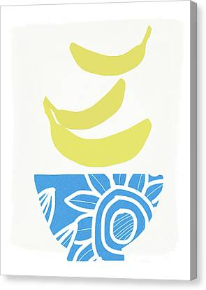 Bowl Of Bananas- Art By Linda Woods Canvas Print by Linda Woods