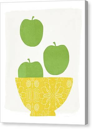 Bowl Of Green Apples- Art By Linda Woods Canvas Print by Linda Woods