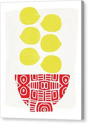 Bowl Of Lemons- Art By Linda Woods Canvas Print by Linda Woods