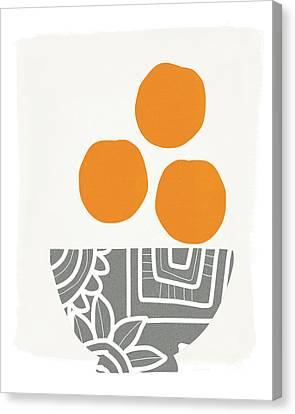 Bowl Of Oranges- Art By Linda Woods Canvas Print by Linda Woods