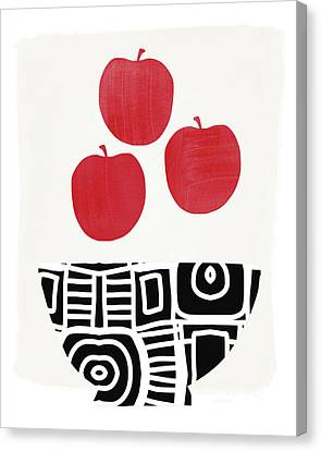 Bowl Of Red Apples- Art By Linda Woods Canvas Print by Linda Woods