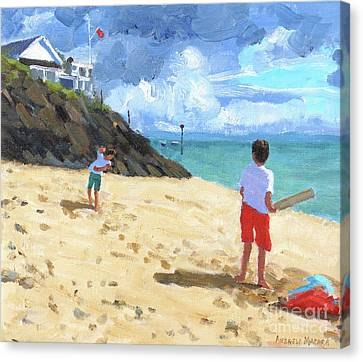 Bowling And Batting, Abersoch Canvas Print by Andrew Macara