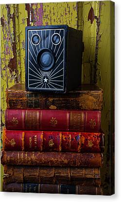 Box Camera And Books Canvas Print by Garry Gay