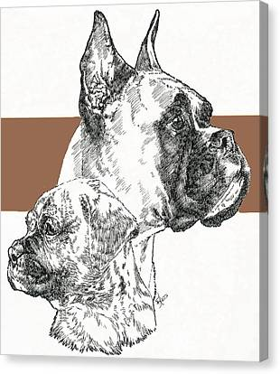 Boxer -cropped- Father And Son Canvas Print by Barbara Keith