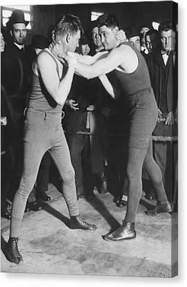 Boxer Frank Moran In Training Canvas Print by Underwood Archives