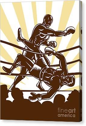 Boxer Knocking Out Canvas Print by Aloysius Patrimonio