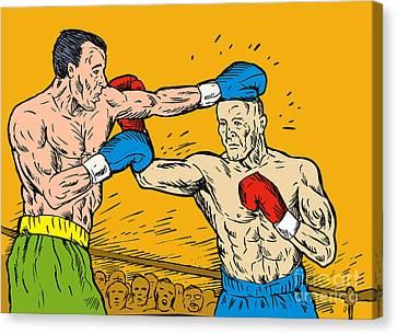 Boxer Punching Canvas Print by Aloysius Patrimonio