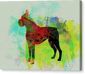 Boxer Watercolor Canvas Print by Naxart Studio