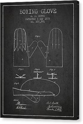 Boxing Glove Patent From 1878 - Charcoal Canvas Print by Aged Pixel