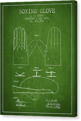 Boxing Glove Patent From 1878 - Green Canvas Print by Aged Pixel
