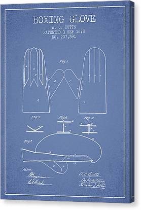 Boxing Glove Patent From 1878 - Light Blue Canvas Print by Aged Pixel