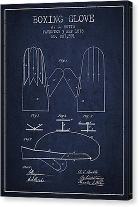 Boxing Glove Patent From 1878 - Navy Blue Canvas Print by Aged Pixel