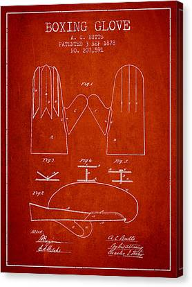 Boxing Glove Patent From 1878 - Red Canvas Print by Aged Pixel