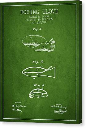 Boxing Glove Patent From 1885 - Green Canvas Print by Aged Pixel