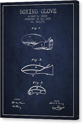 Boxing Glove Patent From 1885 - Navy Blue Canvas Print by Aged Pixel