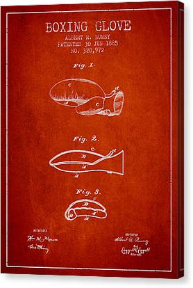 Boxing Glove Patent From 1885 - Red Canvas Print by Aged Pixel