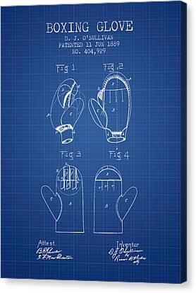 Boxing Glove Patent From 1889 - Blueprint Canvas Print by Aged Pixel