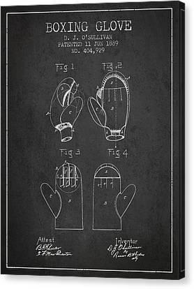 Boxing Glove Patent From 1889 - Charcoal Canvas Print by Aged Pixel