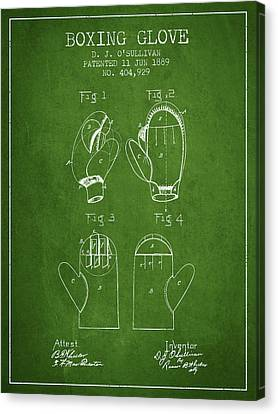 Boxing Glove Patent From 1889 - Green Canvas Print by Aged Pixel
