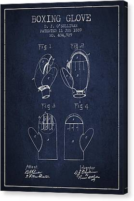 Boxing Glove Patent From 1889 - Navy Blue Canvas Print by Aged Pixel
