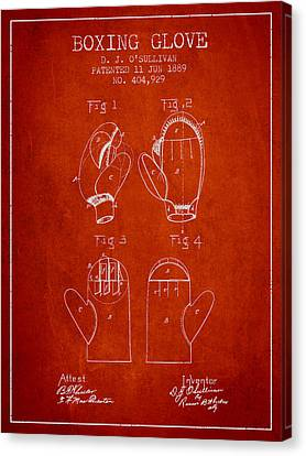 Boxing Glove Patent From 1889 - Red Canvas Print by Aged Pixel