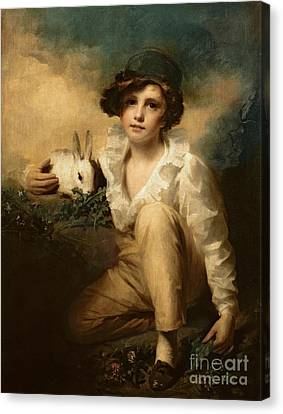 Boy And Rabbit Canvas Print by Sir Henry Raeburn