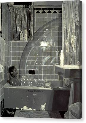 Boy And The Bubble Canvas Print by Colin Bootman