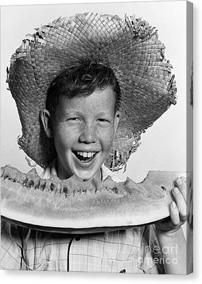 Boy Eating Watermelon, C.1940-50s Canvas Print by H. Armstrong Roberts/ClassicStock
