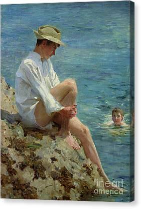 Boys Bathing Canvas Print by Henry Scott Tuke